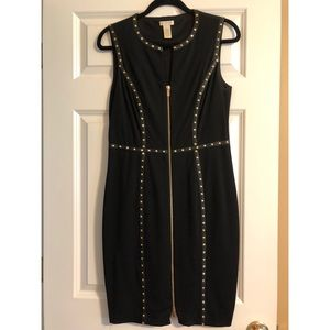 Black Cache dress with gold studs